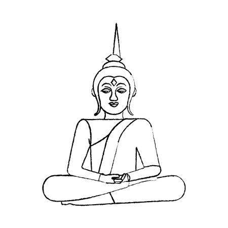蓮の花の神聖な宗教的なベクトルイラストのスケッチデザインに座っているタイ仏