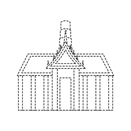 Thai ancient temple architecture landmark vector illustration dotted line design Illustration