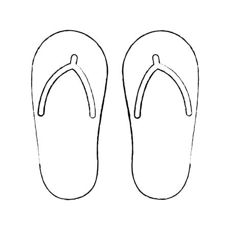 Flip flop footwear rubber accessory vector illustration sketch design Illustration