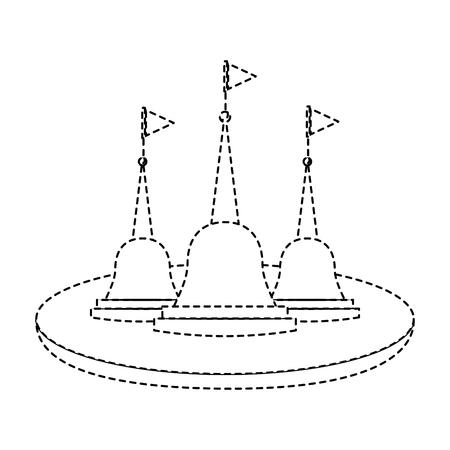 Thailand temple religious culture structure vector illustration dotted line design