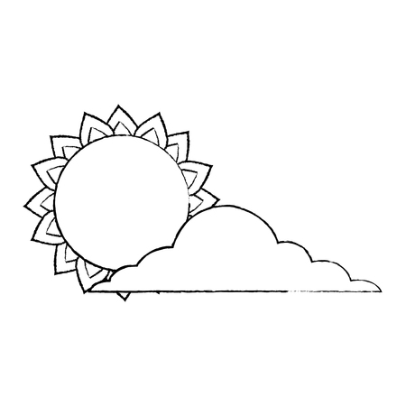 Sun and cloud weather day sky vector illustration sketch design Illustration