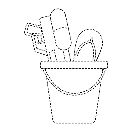Plastic bucket with water pistol and flip-flop vector illustration dotted line design