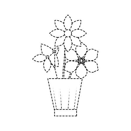 Flowers jasmine frangipani in vase decoration ornament vector illustration dotted line design Ilustração