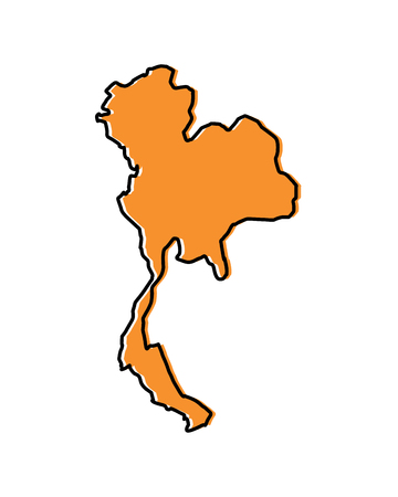 Thailand map location, Asia travel destination vector illustration