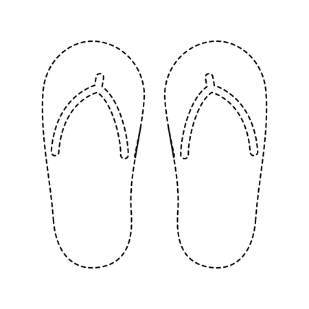 Flip flop footwear rubber accessory vector illustration dotted line design Ilustracja