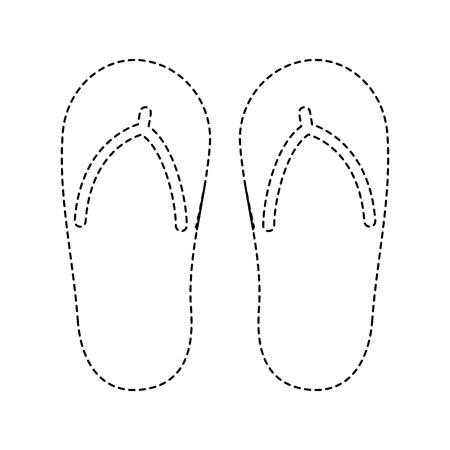 Flip flop footwear rubber accessory vector illustration dotted line design Illustration