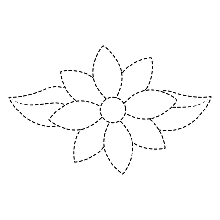 Jasmine flower leaves decoration ornament vector illustration dotted line design