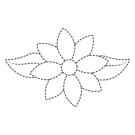 Jasmine flower leaves decoration ornament vector illustration dotted line design