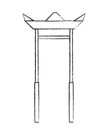 Arc entrance temple asia sculture architecture vector illustration sketch design Stock Vector - 95616888