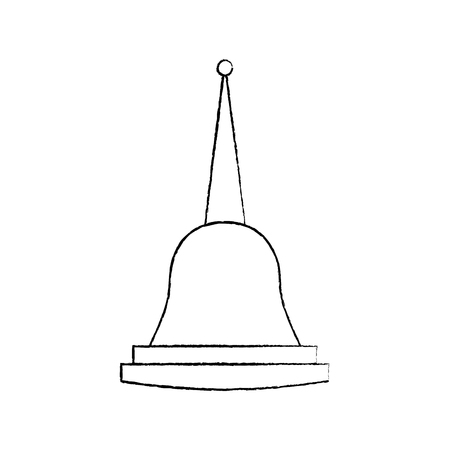 Pagoda Thailand temple shape bell culture vector illustration sketch design Çizim