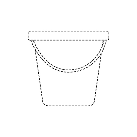 Plastic bucket container vector illustration dotted line design