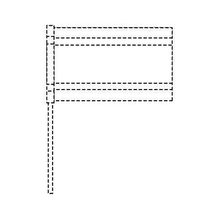 Flag in pole national emblem symbol vector illustration dotted line design