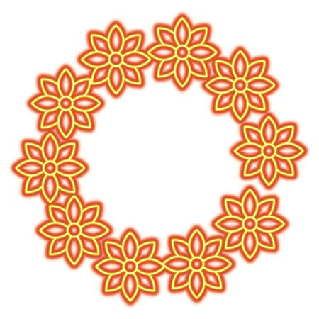 Floral wreath jasmine flower decoration natural vector illustration orange and yellow line image