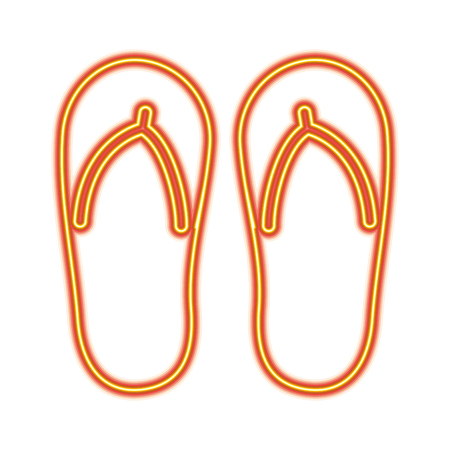 Flip-flop footwear rubber accessory vector illustration orange and yellow line image