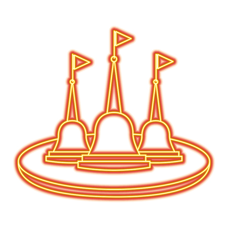 Thailand temple religious culture structure vector illustration orange and yellow line image  イラスト・ベクター素材