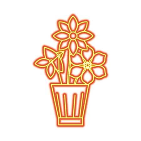 Flowers jasmine frangipani in vase decoration ornament vector illustration orange and yellow line image