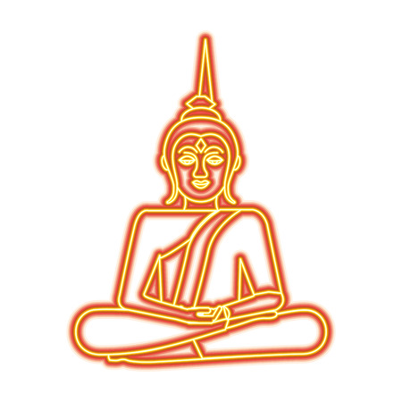 Thailand buddha sitting lotus flower sacred religious vector illustration orange and yellow line image Illustration