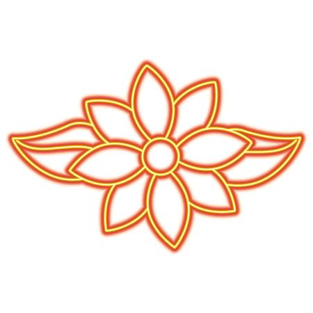 Jasmine flower leaves decoration ornament vector illustration orange and yellow line image