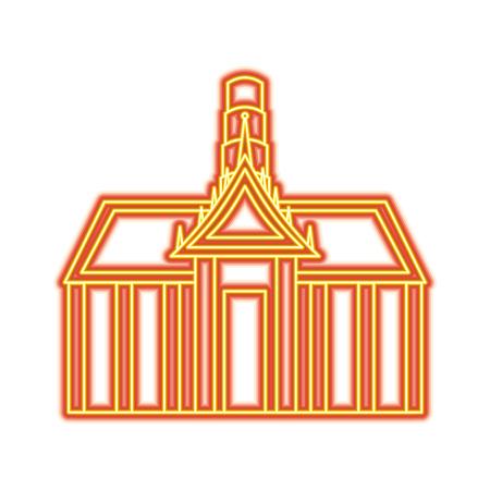Thai ancient temple architecture landmark vector illustration orange and yellow line image