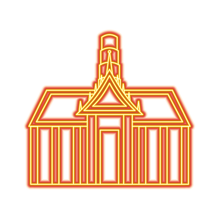 Thai ancient temple architecture landmark vector illustration orange and yellow line image