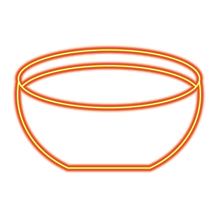 Bowl  icon vector illustration orange and yellow line image