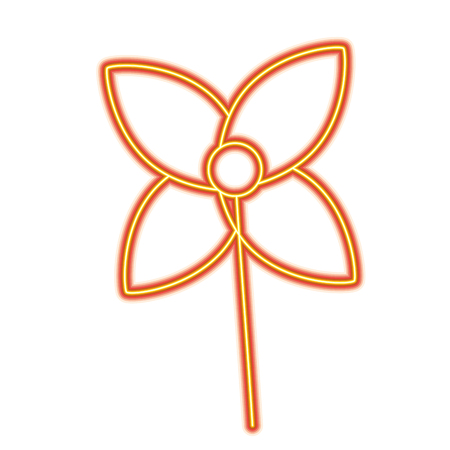 Weathervane in a shape of flower decoration vector illustration orange and yellow line image Ilustração