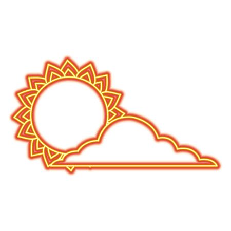 Summer sun cloud weather day sky vector illustration orange and yellow line image