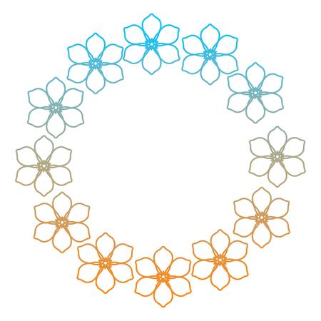 Wreath floral frangipani flower decoration vector illustration degrade color line image