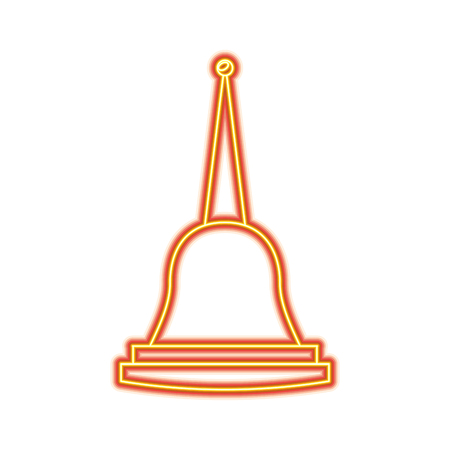 Pagoda Thailand temple shape bell culture vector illustration dotted line design Ilustração