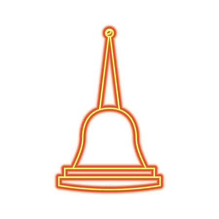 Pagoda Thailand temple shape bell culture vector illustration dotted line design Illustration