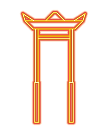arc entrance temple asia sculture architecture vector illustration orange and yellow line image  イラスト・ベクター素材