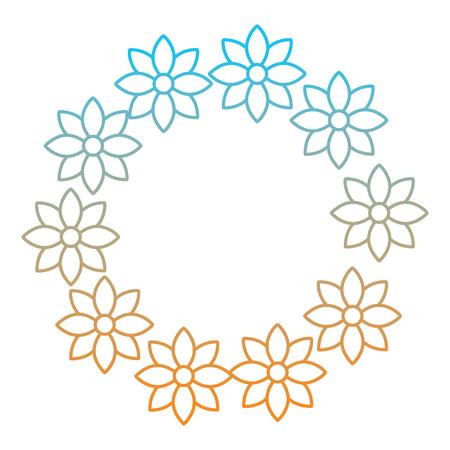 Floral wreath jasmine flower decoration natural vector illustration degrade color line image Иллюстрация