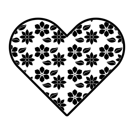delicate heart with jasmine flower decoration vector illustration