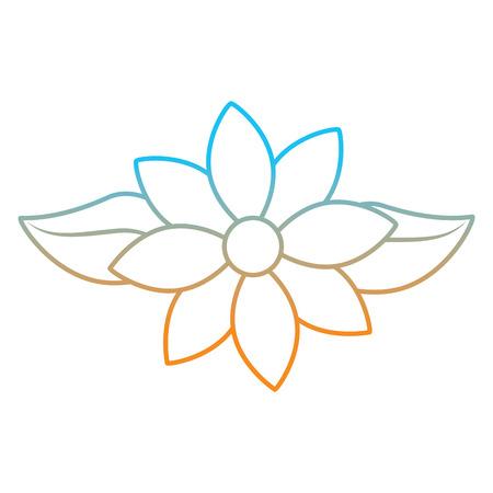 Jasmine flower leaves decoration ornament vector illustration degrade color line image