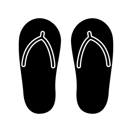 flip flop footwear rubber accessory vector illustration black and white image