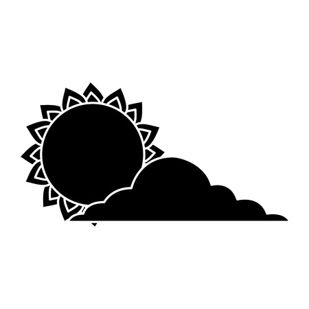 summer sun cloud weather day sky vector illustration black and white image Illustration