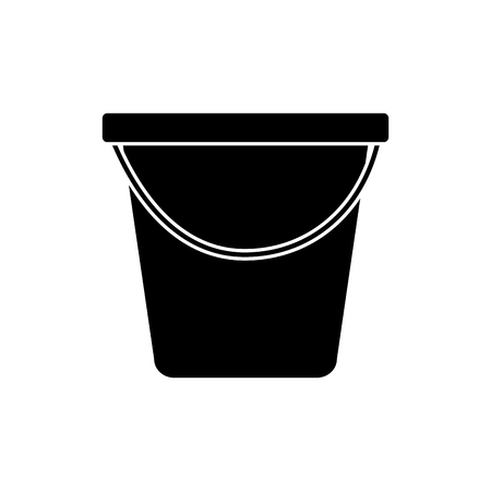 plastic bucket container handle empty vector illustration black and white image Illustration
