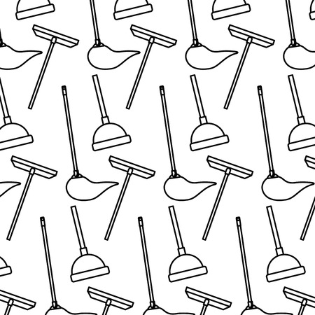 cleaning equipment scraper mop plunger background vector illustration
