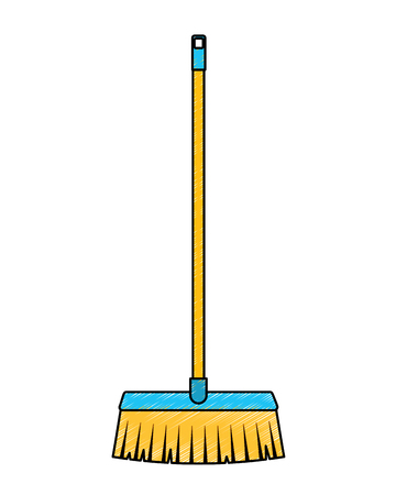 broom long wooden handle tool for cleaning vector illustration