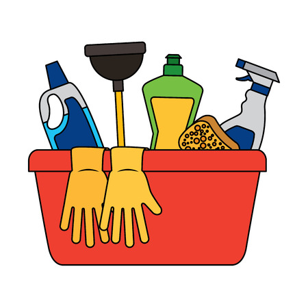 container with cleaning supplies gloves plunger sponge spary bottle and detergent vector illustration Çizim