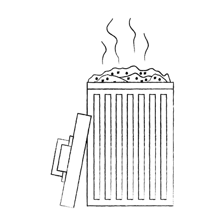 open bin with garbage cap handle vector illustration sketch image graphic