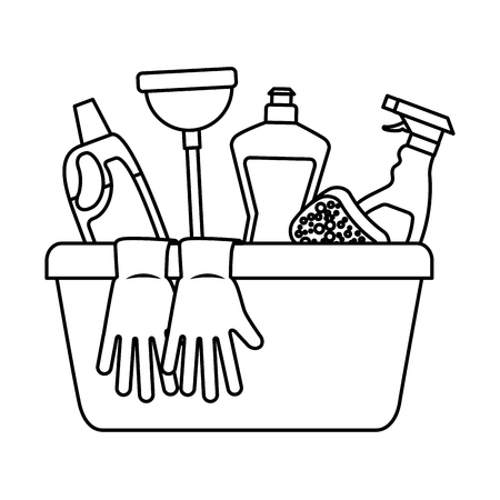 Container with cleaning supplies gloves plunger sponge spary bottle and detergent vector illustration outline image Illustration