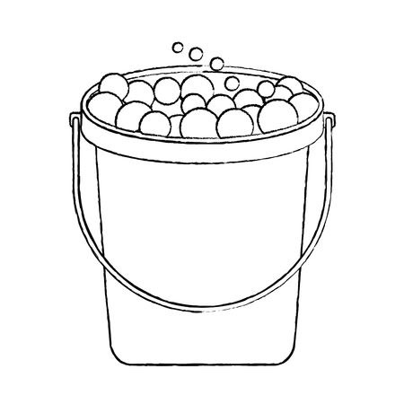 bucket with soap bubbles cleaning house vector illustration sketch image graphic Illustration