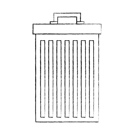gray trash can container garbage vector illustration sketch image graphic