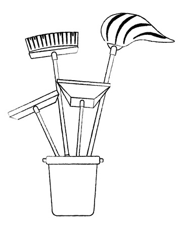 Cleaning objects plastic bucket full of janitor cleaning helpful vector illustration sketch image graphic