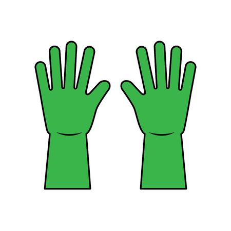 green gloves cleaning rubber equipment vector illustration
