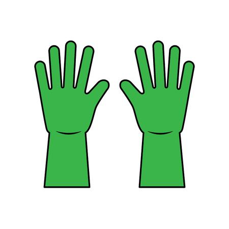 Guantes verdes de limpieza de equipos de goma ilustración vectorial Foto de archivo - 95569041