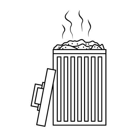 open bin with garbage cap handle vector illustration outline image