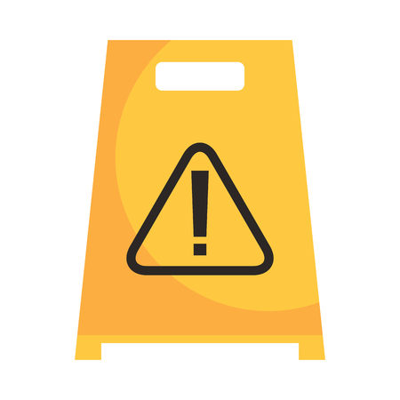 Slippery wet floor sign warning cleaning vector illustration Stock Illustratie