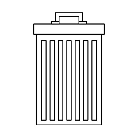 gray trash can container garbage vector illustration outline image